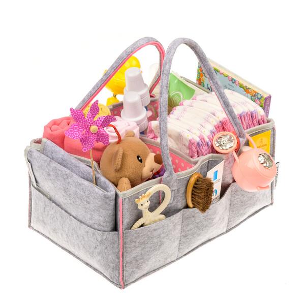 Geantă organizator scutece și accesorii copii, TAGbebe, Gri/Roz + Cadou Salteluță impermeabilă